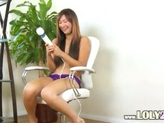 oriental with huge big sex-toy in action