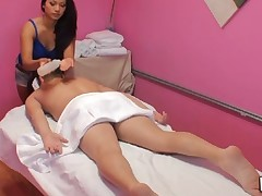Handjob and stylish sex occur during massage