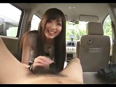 Asian Girl Sucking Guy Cock Giving Handjob Cum To Hand In The Back Of The Car