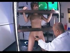 Asian Girl Standing In A Cage Stimulated And Fucked With Toys Getting Her Hairy Pussy Licked By Man In The Lab
