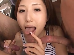 Sexy Oriental mommy in heels receives naked and fucked on sofa