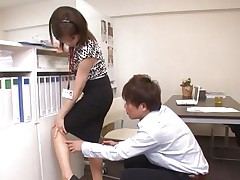 Ai Komori and her coworker are in the office working on a project together. Ai keeps looking for files and her coworker uses every opportunity to check out that sexy booty of hers. That babe gets a run in her pantyhose and he comes to check it out, then hikes her skirt, rubs her, and starts nailing her.