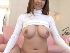 Horny Oriental with large merry tits thrills with wet blow job