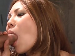 Big brassiere buddies Oriental receives her constricted cunt thrashed in hot bang