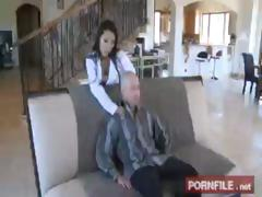 Brunette Asa Akira gets cock in mouth and cock in her pussy