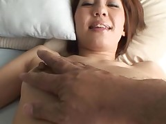 Pretty Oriental mother i'd like to fuck sucks on hard dick and her bushy cunt fingered