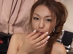 Breasty Oriental beauty with curly cum-hole feels wang and vagina in aperture