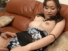 Fellow fingers wicked Asian chick in stockings zealously